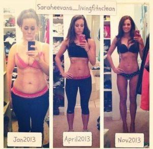 筋トレで痩せた女性のビフォーアフター